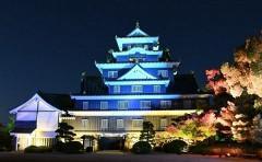 岡山城「青い烏」にライトアップ