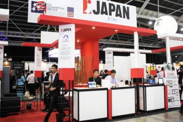 「フィンテック・フェスティバル2018」でジェトロが出展したジャパンパビリオン=12日、シンガポール東部(NNA撮影)