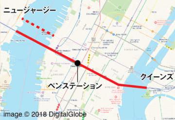 PRR「NYトンネル延長計画」で提案されたルート。点線はもともと提案され実現しなかった橋の位置