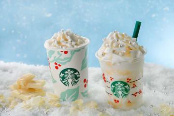 スタバ新作『ホワイトチョコレートスノーフラペチーノ』Xmasの雪をイメージ