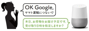 「Google Home」を使用したイメージ。(画像: ヤマト運輸の発表資料より)