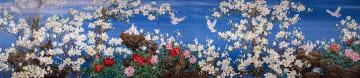 1億2千万針の大型刺しゅう作品「玉蘭飄香」、輸入博メイン会場に彩り