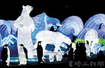 西武園ゆうえんちで開催されている光の祭典「ホワイトランタジア」=所沢
