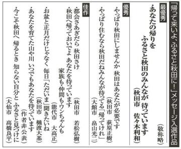 最優秀に佐々木さん(秋田市) 県ふるさと回帰メッセージ