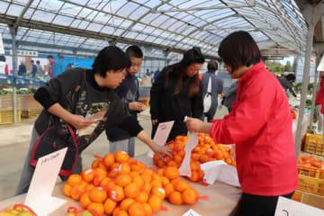 【農産物を買い求める来場者=桑名市播磨の桑名ライスセンターで】