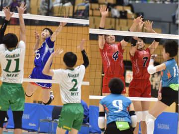 【スパイクを打つ松阪工の選手(左)とブロックに跳ぶ三重高の選手ら=津市のサオリーナで】