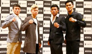 トーナメント参戦が決まった(左から)志朗、那須川、ロッタン、スアキム