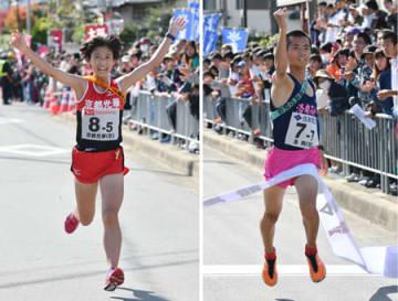 4位に入り、全国高校駅伝出場を決めた京都光華のアンカー吉田(左)18年ぶりの優勝となるゴールテープを切る洛南のアンカー若林(右)=大阪府能勢町役場前