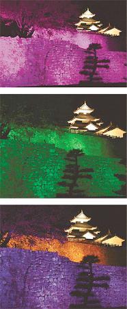 変幻自在!小峰城跡の石垣ライトアップ 白河に幻想的空間出現