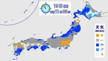 19日(月)午前11時現在 天気に関する推計気象分布