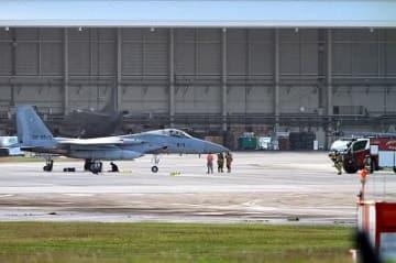 航空自衛隊那覇基地所属のF15が嘉手納基地に緊急着陸 油圧系統の不具合
