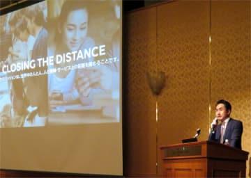 事業戦略や京都進出の狙いを語るLINEの出澤CEO(京都市中京区)