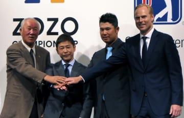 発表会に登壇した(左から)JGTO・青木功会長、株式会社ZOZO・前澤友作社長、松山英樹、PGA副会長のC・ハーディ