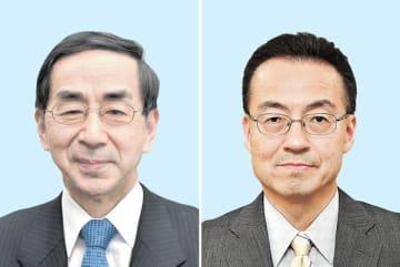 来春の福井県知事選へ向け、自民党県連に推薦願を提出している現職の西川一誠氏(左)、前副知事の杉本達治氏(右)