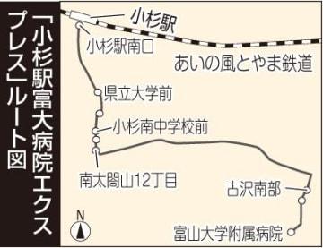富山大が路線バス 小杉駅−附属病院間 来月から 患者や学生の足確保