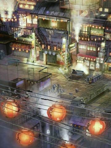 LEDを後ろから当てた「えんとつ町のプペル」の絵の一場面