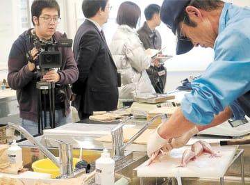 漁協の自主検査を視察する中国のメディア関係者ら=いわき市の小名浜魚市場