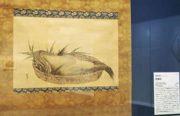 食材としてのアンコウをリアルに描いた葛飾北斎の「鮟鱇図」=東京・両国のすみだ北斎美術館