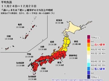 1か月予報(平均気温、11月24日~12月23日)。出典=気象庁HP