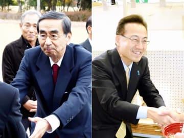 福井県知事選への立候補を表明している現職の西川一誠氏(左)と前副知事の杉本達治氏(右)