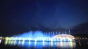 国連世界地理情報会議の永久開催地で光のショー 浙江省徳清県