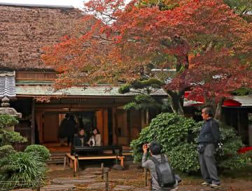 秋の日本庭園の景色を楽しめる一般公開=長崎市、心田庵