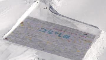 世界最大のはがきアート作品、スイスで公開 気候変動対策を呼びかけ