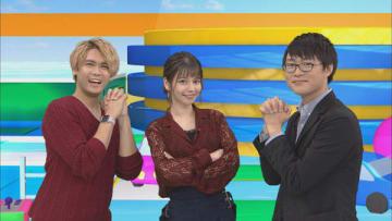 「アニゲー☆イレブン!」の第163回に登場する(左から)石井マークさん、Lynnさん、山元隼一監督=BS11提供