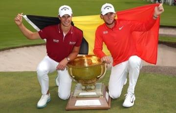 トーマス・ピータース(右)/トーマス・デトリー(左)のベルギーチームが通算23アンダーで勝利を手にした Photo by Scott Barbour/Getty Images