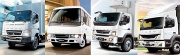 双日がフィリピンの販売総代理権を取得した、ふそうブランドのトラックとバス(同社提供)