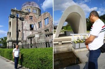 原爆ドームの前を歩くマハディ・サレハさん 右は平和記念公園の原爆慰霊碑を眺めるマハディ・サレハさん=それぞれ10月8日、広島市