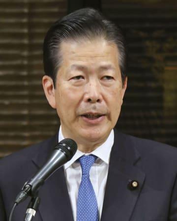 共同通信きさらぎ会で講演する公明党の山口代表=26日午後、東京都内のホテル