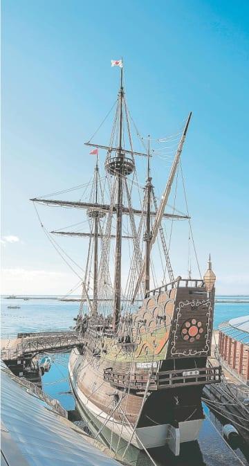 17世紀、欧州の奴隷貿易に使われていたとの説が浮上したサン・ファン・バウティスタ号の復元船=石巻市のサン・ファン館