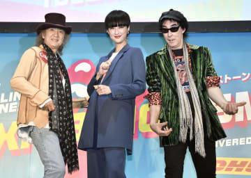 記者発表会に登場した(左から)Char、シシド・カフカ、鮎川誠=26日、東京都内