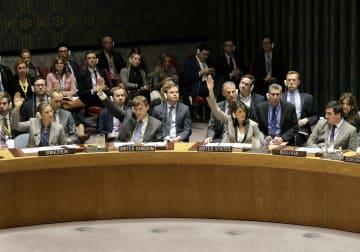 26日、高まるウクライナとロシアの緊張を受けて開かれた国連安全保障理事会の緊急会合(AP=共同)