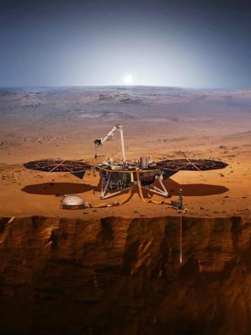 火星で観測するインサイトの想像図(NASA提供・共同)