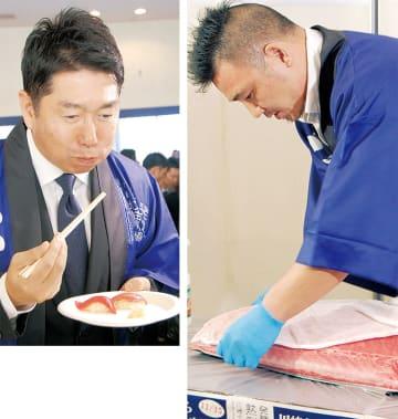 舌鼓を打つ福田市長(上)とエイジングシートの実演をする市場スタッフ