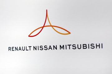 日産自動車とフランス大手ルノー、三菱自動車の3社連合を統括する会社のロゴ=2017年9月、パリ(AP=共同)