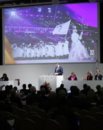 ANOCの総会で行われた、2026年冬季五輪招致のストックホルムのプレゼンテーション=28日午後、東京都内のホテル