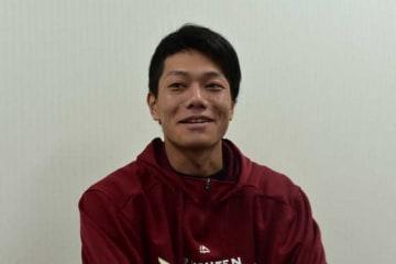 インタビューに応じた楽天・田中和基【写真:(C)PLM】