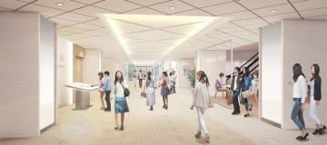 旧伊勢丹松戸店の建物に来年4月開業する新施設のイメージ