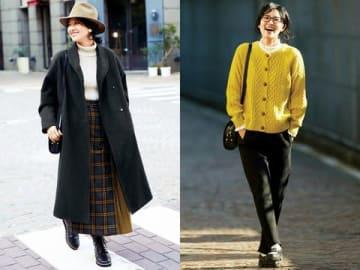 浜島直子さんと「Live in comfort」のコラボ商品の「ふわりとはおってサマになる 暖かロングコート」(左)と「暖か&伸びやかな二層構造 大人のジャージーパンツ」