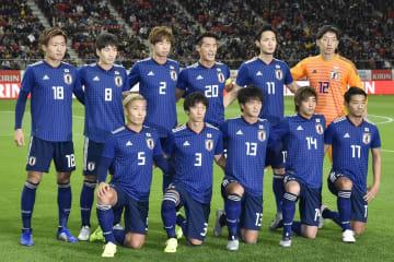 11月20日、キルギス代表との国際親善試合で先発した日本代表のメンバー=豊田スタジアム