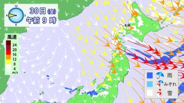 30日(金)午前9時の風と雨・雪の予想