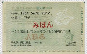マイナンバー制度の通知カードの見本