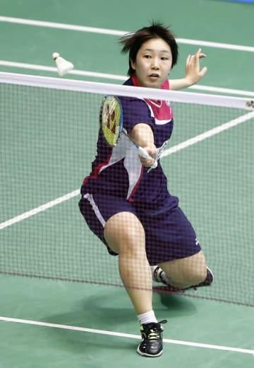女子シングルスで準決勝進出を決めた山口茜=東京・駒沢体育館