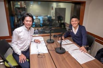 自転車ロードレース選手の新城幸也さん(左)とパーソナリティの丸山茂樹