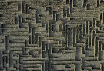 トウモロコシのわらで作った迷路が人気 河北省昌黎県