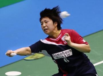 女子シングルスで決勝進出を決めた山口茜=12月1日、東京・駒沢体育館