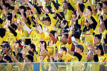 J1最終節のガンバ大阪戦で応援席を埋めた柏レイソルのサポーター。黄色いユニホームに身を包み、最後まで選手に声援を送った=1日、柏市の三協フロンテア柏スタジアム